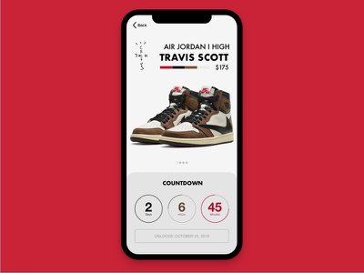 Daily UI #013 ux ui travis scott timer snkrs sneakers product design nike mobile jordans daily ui countdown