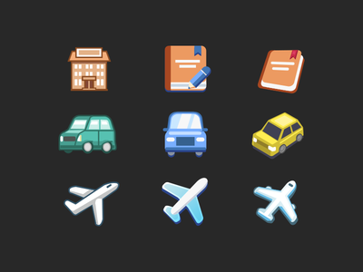 Travelsites icons - style explorations