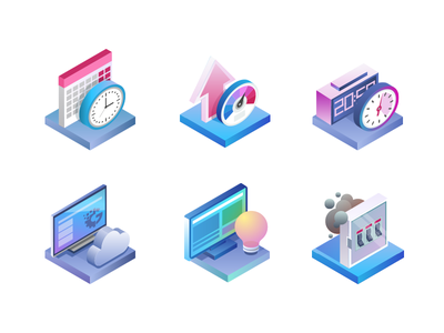 Gapit - product features icon icons isometric vector illustration
