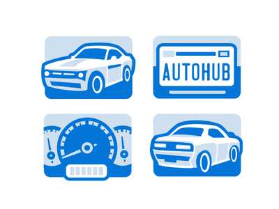 Autohub explainer icon vehicle flat car icons