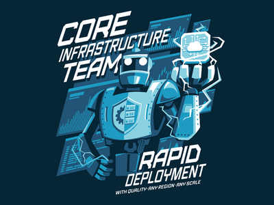 Core infrastructure team electricity technology console server illustration cloud print shirt robot