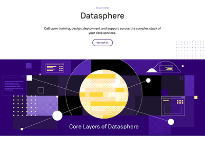 Datasphere corporate service it data texture flat illustration
