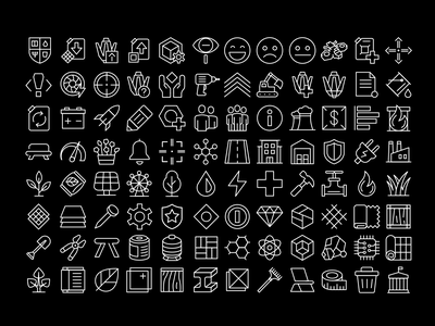 City builder icons iconography resource money power icons vector future line sci-fi city icon