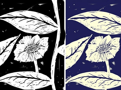 BnW or color illustration foliage woodcut photoshop painting