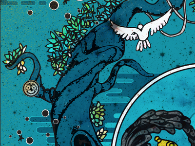 Detail of The Monsoon Festival  india god nature tree pigeon monsoon