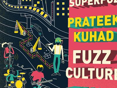 The Gigweek Poster  illustration design event city train minimal drums guitar bass metro gig