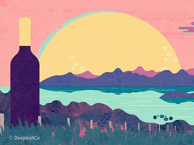 Spanish country wine  sun wine sunset