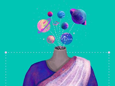 Aham Brahmanasmi : I am the Universe bhagvatgita evolution contentment philosophy digital colour texture india wacom planets space saree