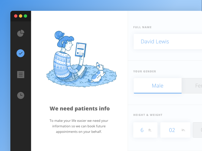 Health Client Input care medical form mac app web website ui health