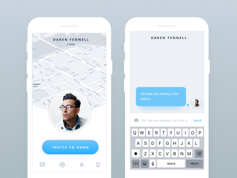 Chat + Hang App  friends chat los angeles mobile ios app iphone application clean ui ux design