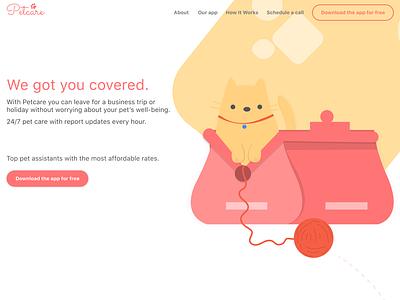 Petcare | DailyUI landing page website webui pets figma webdesign dailyui