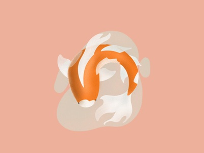 Koi nature illustrations drawing procreate icon fish koi design illustration logo dailyui