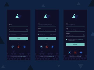 Dark mode Login and Signup App mockup android design ios design