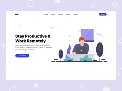Web Header Design work remotely stay productive vector illustration web