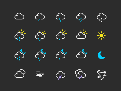 Some weather icons from World Clock app apple weather sketch app illustration 💎 mac os x real work app icons