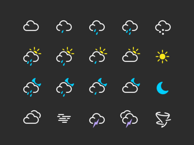 Some weather icons from World Clock app