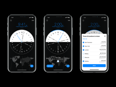 World Clock Pro Mobile – Update 1.5 apple editors choise app of the day dark mode dark black design 💎 converter time appstore iphone ios app