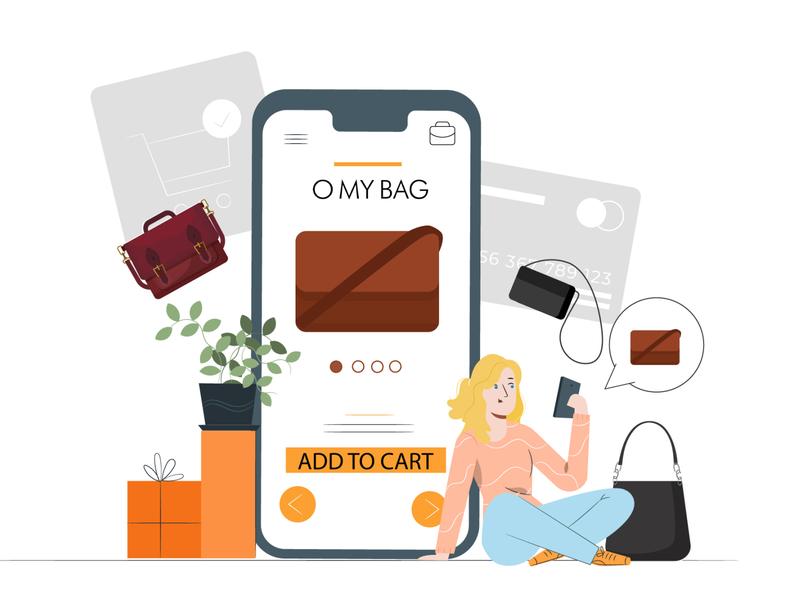 shop online illustration vector