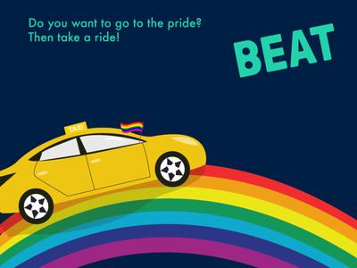 Taxi pride vector design illustration banner