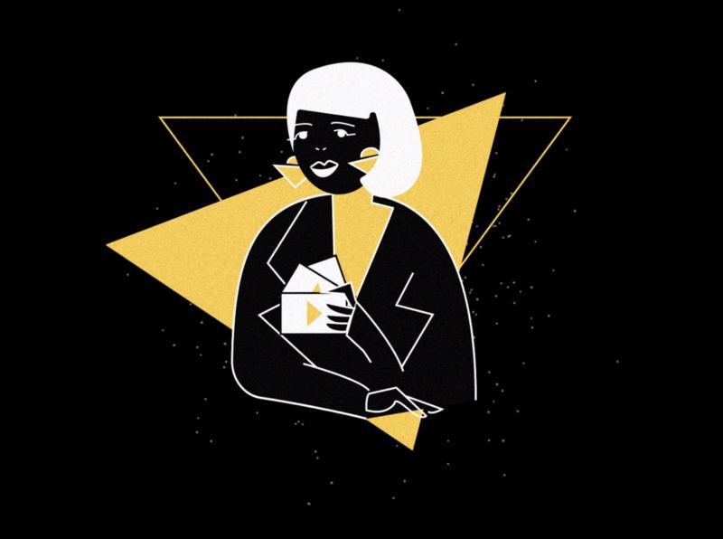 Panimation illustration vector design figure gif animation black yellow female gif