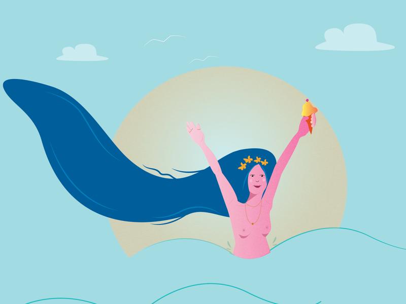 Summer time free summertime summer figure animation design illustration