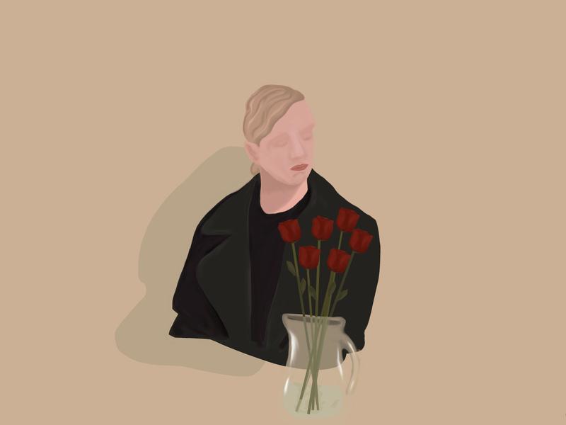 female_lonely vector design illustration