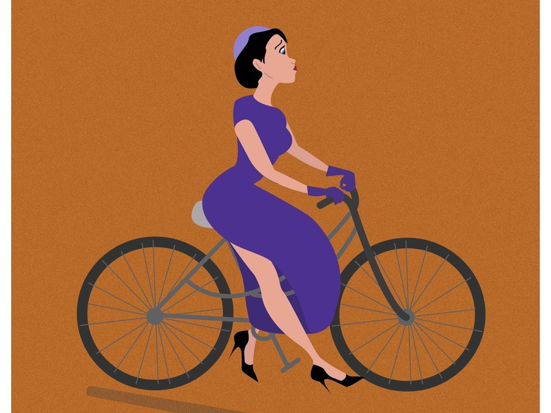 bicycle_girl animation design vector illustration