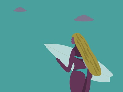 Surfing Girl woman illustration surf vector illustration