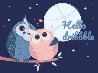 Cute Owls valentine day love owls cute hello dribbble first shot