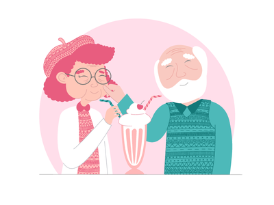 Love knows no age illustration cute lovers grandparents love
