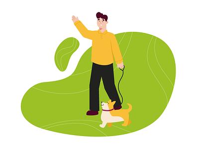 Man walking with his doggo illustration sunny day walking walk happy pet dog spring man