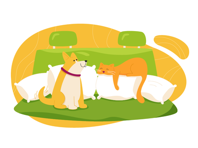 Moving to new home pets cute illustration kitten dog doggo cat
