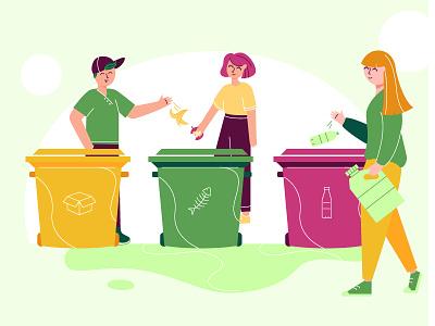 Saving environment sorting trash illustration zero waste save earth