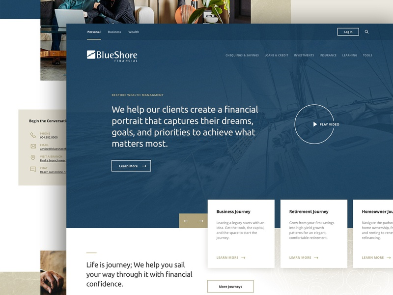 Blueshore Financial clean nautical webdesign financial app