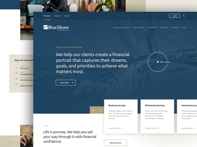 Blueshore Financial clean nautical webdesign financial app