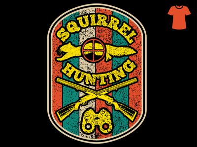 Squirrel Hunting t-shirt design illustration gun squirrel tee printready print hunter hunting t-shirt clothing beauty fashion branding vector illustration graphic design