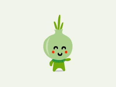 TasteBud logo illustration character onion vegetable healthy food green