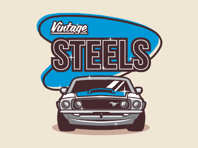 Vintage Steels vintage steels logo car american diner muscle retro illustration