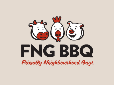 FNG BBQ fng barbecue logo cow chicken pig meat team illustration