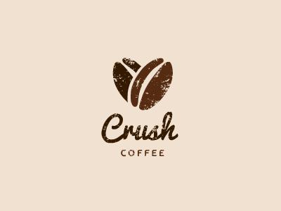 Crush Coffee crush coffee iced heart bean brown illustration logo