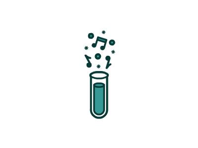 Music Professor logo design music professor test tube notes illustration brandsanity blue green