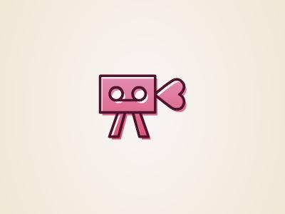 DateCam date cam logo illustration pink camera heard video