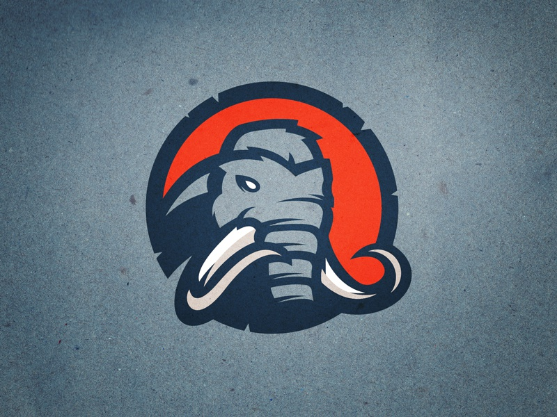 Mammoths sports logo stone age dinosaur animal tusks logo elephant mastodon mammoth