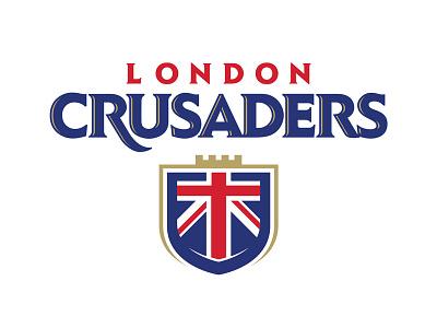 London Crusaders sports logo sports union jack shield crest football logo crown football london england