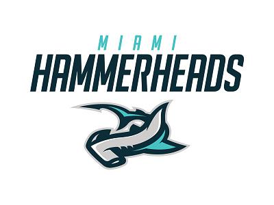 Miami Hammerheads esports football surf ocean florida hammerhead shark miami sports logo logo