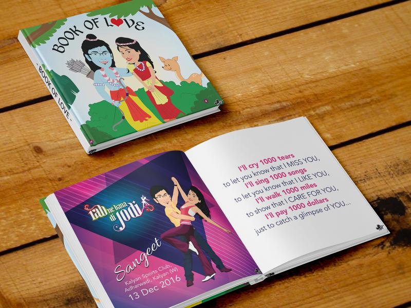 Book of Love hindu seeta ram love birds love in love creations creative invitation fun book wedding flat vector cute illustration design caricature