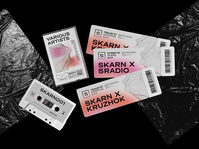 Skarn Records vinyl event music logo ticket identity graphic design branding