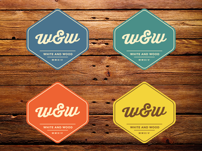 white and wood logo variations