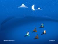 Choose Safety over Freedom! people celebration clouds stars prayer moon night socialdistancing eid ul adha eidmubarak eid blue adobeillustator vector dribbled design concept art illustration colorful