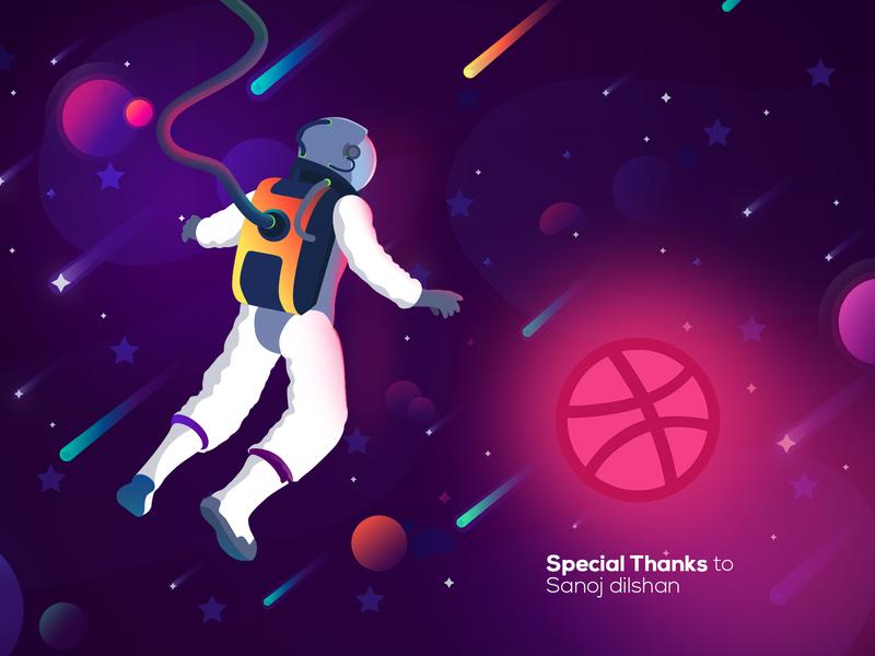 Entering in Planet Dribble digital art colorful concept art planet astronaut first shot dribbled galaxy flat branding vector design illustration